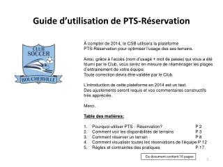 Guide d'utilisation de PTS-Réservation