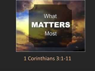 1 Corinthians 3:1-11