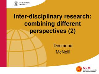 Inter-disciplinary research: combining different perspectives (2)