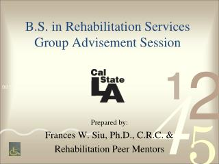 B.S. in Rehabilitation Services Group Advisement Session