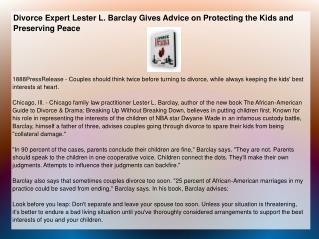 Divorce Expert Lester L. Barclay Gives Advice