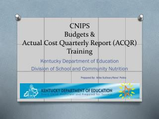 CNIPS Budgets &   Actual Cost Quarterly Report (ACQR) Training