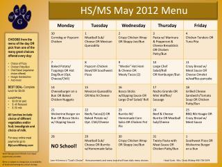 HS/MS May 2012 Menu