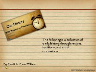 With Recipes and Traditions