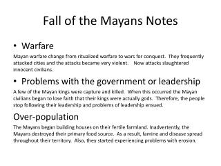 Fall of the Mayans Notes