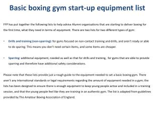 Basic boxing gym start-up equipment list