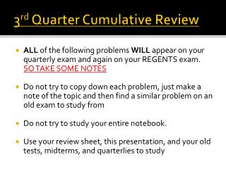 3 rd  Quarter Cumulative Review