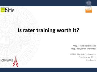 Is rater training worth it ?