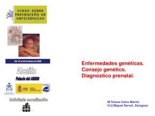 Enfermedades gen ticas. Consejo gen tico.  Diagn stico prenatal.