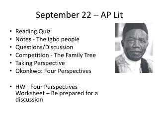September 22 – AP Lit