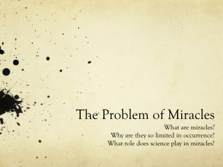 The Problem of Miracles