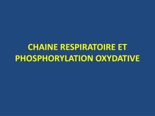 CHAINE RESPIRATOIRE ET PHOSPHORYLATION OXYDATIVE