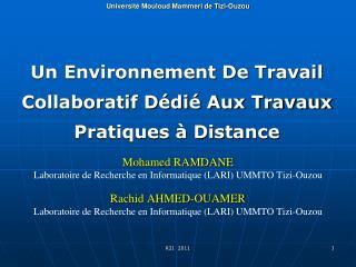 Un Environnement De Travail Collaboratif Dédié Aux Travaux Pratiques à Distance