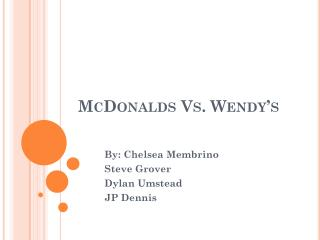 McDonalds Vs. Wendy's