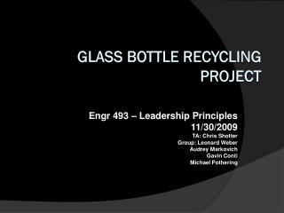 Glass Bottle Recycling Project