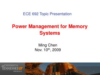 Power Management for  Memory Systems