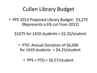 Cullen Library Budget