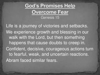 God's Promises Help  Overcome  Fear Genesis  15
