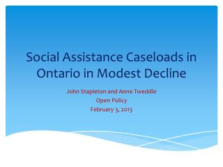 Social Assistance Caseloads in Ontario in Modest Decline