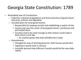 Georgia State Constitution: 1789