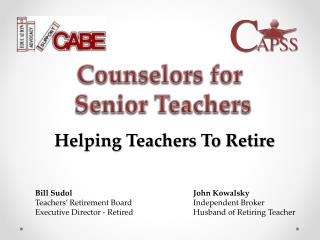 Counselors for Senior  Teachers
