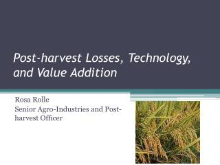 Post-harvest Losses, Technology, and Value Addition