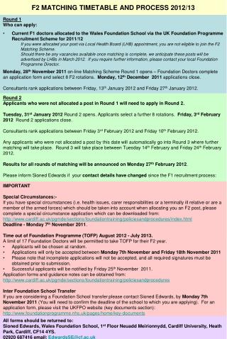 F2 MATCHING TIMETABLE AND PROCESS  2012/13