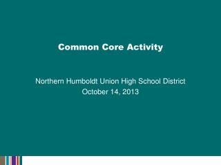 Common Core Activity