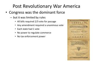 Post Revolutionary War America