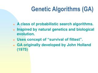 Genetic Algorithms GA