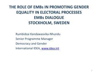 Rumbidzai Kandawasvika-Nhundu Senior Programme Manager Democracy and Gender