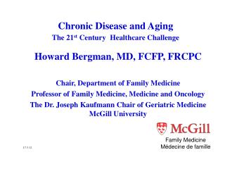 Chronic Disease and  Aging The 21 st  Century  Healthcare  Challenge