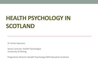 Health Psychology in Scotland