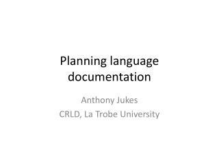 Planning language documentation