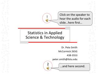 Statistics in Applied Science & Technology