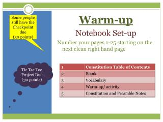 Warm-up Notebook Set-up Number your pages 1-25 starting on the next clean right hand page