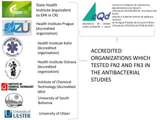 ACCREDITED ORGANIZATIONS WHICH TESTED FN2 AND FN3 IN THE ANTIBACTERIAL STUDIES