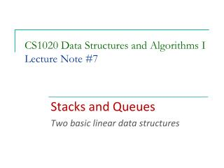 CS1020 Data Structures and Algorithms I Lecture Note  #7