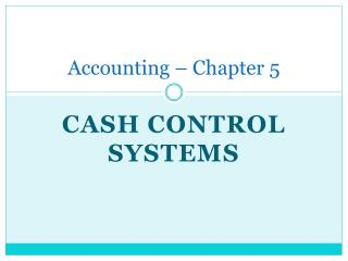 Accounting – Chapter 5