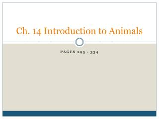 Ch. 14 Introduction to Animals
