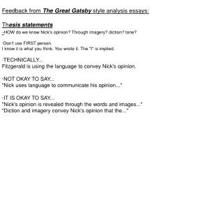 Feedback from  The Great Gatsby  style analysis essays: Th esis statements