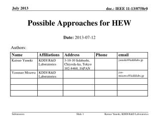 Possible Approaches for HEW