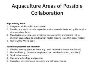 Aquaculture Areas of Possible Collaboration