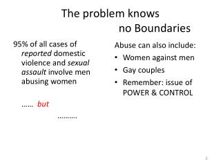 The problem knows  				no Boundaries