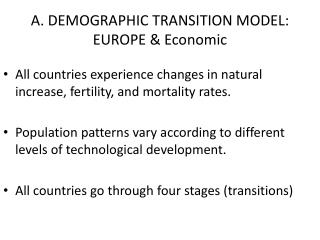 A. DEMOGRAPHIC TRANSITION MODEL:  EUROPE & Economic