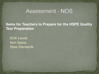 Assessment - NOS