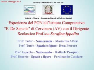 Prof. Tutor �  Numerando  -   Maria Pia Alfieri  Prof.  Tutor -  Spazio e figure  - Rosa Ferrara