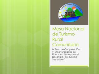 Mesa Nacional de Turismo Rural Comunitario