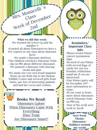 Mrs. Monacelli`s Class Week of December   2nd