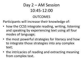 Day 2 – AM Session 10:45-12:00